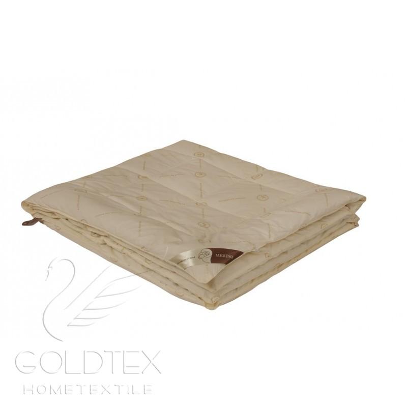 Одеяло Merino Collection облегченное, размер Евро (200х220 см)Одеяла<br>Длина:220 см<br>Ширина:200 см<br>Чехол:Стеганый, с кантом<br>Плотность наполнителя:150 г/кв. м<br><br>Тип: Одеяло<br>Размер: 200х220<br>Материал: Овечья шерсть