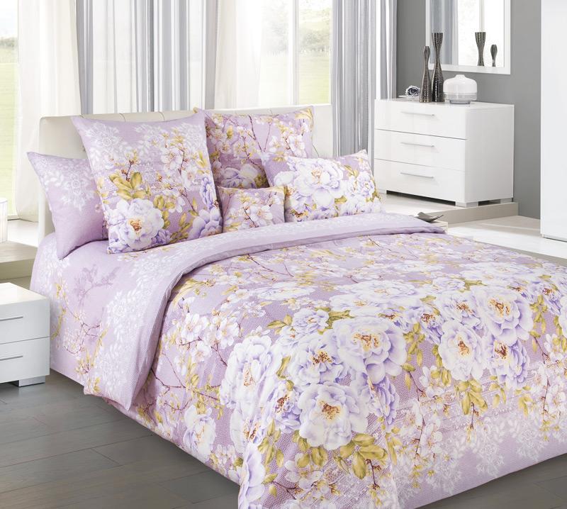 Комплект  Белый шиповник  Фиолетовый, размер Семейный - Постельное белье артикул: 9959