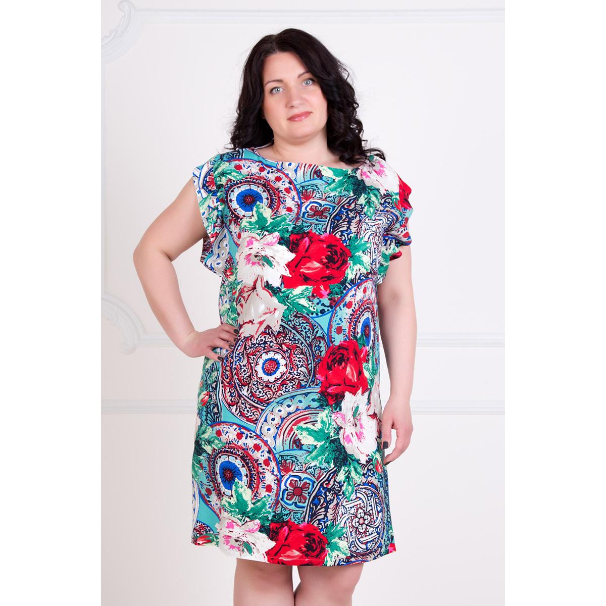 Жен. платье Инди р. 52Платья, туники<br>Обхват груди:104 см<br>Обхват талии:85 см<br>Обхват бедер:112 см<br>Длина по спинке:94.5 см<br>Рост:167 см<br><br>Тип: Жен. платье<br>Размер: 52<br>Материал: Штапель