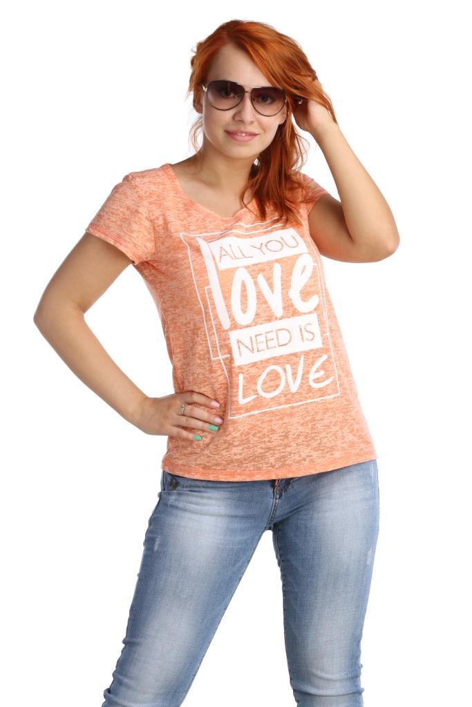 Жен. футболка арт. 16-0026 Коралл р. 54Майки и футболки<br>Обхват груди:108 см<br>Обхват талии:90 см<br>Обхват бедер:116 см<br>Длина по спинке:64 см<br>Рост:164-170 см<br><br>Тип: Жен. футболка<br>Размер: 54<br>Материал: Деворе