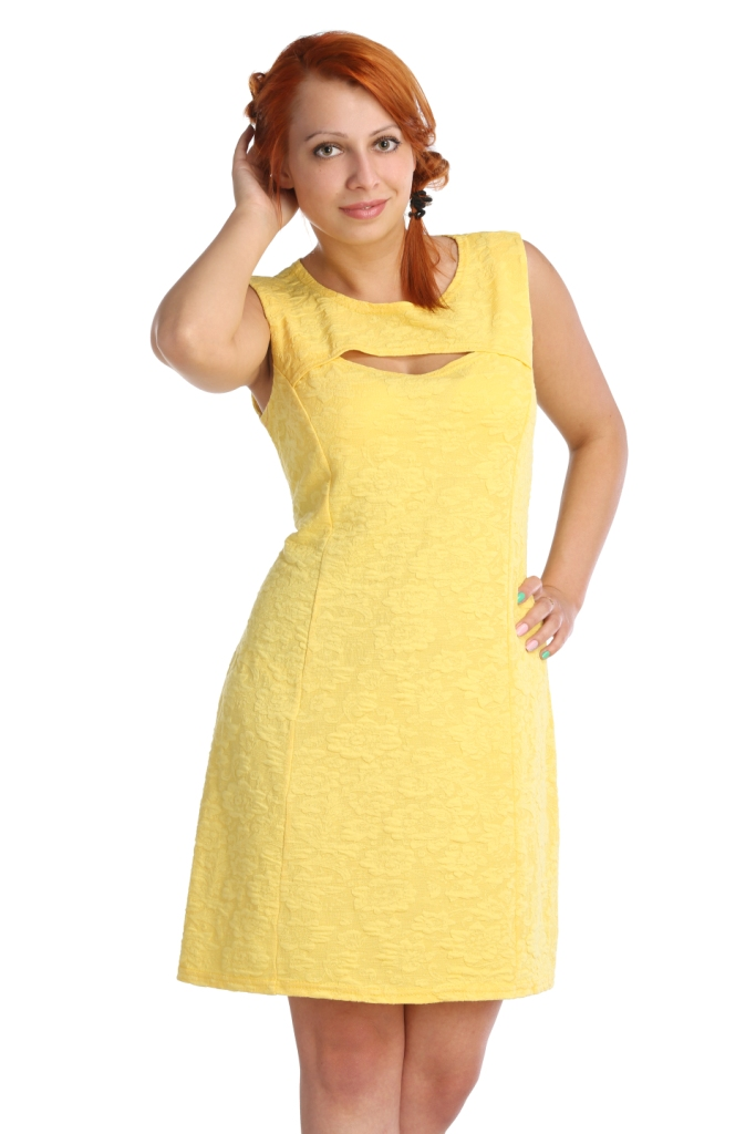 Жен. платье арт. 16-0024 Желтый р. 42Платья<br>Обхват груди: 84 см <br>Обхват талии: 65 см <br>Обхват бедер: 92 см <br>Длина по спинке: 86 см <br>Рост: 164-170 см<br><br>Тип: Жен. платье<br>Размер: 42<br>Материал: Хлопок