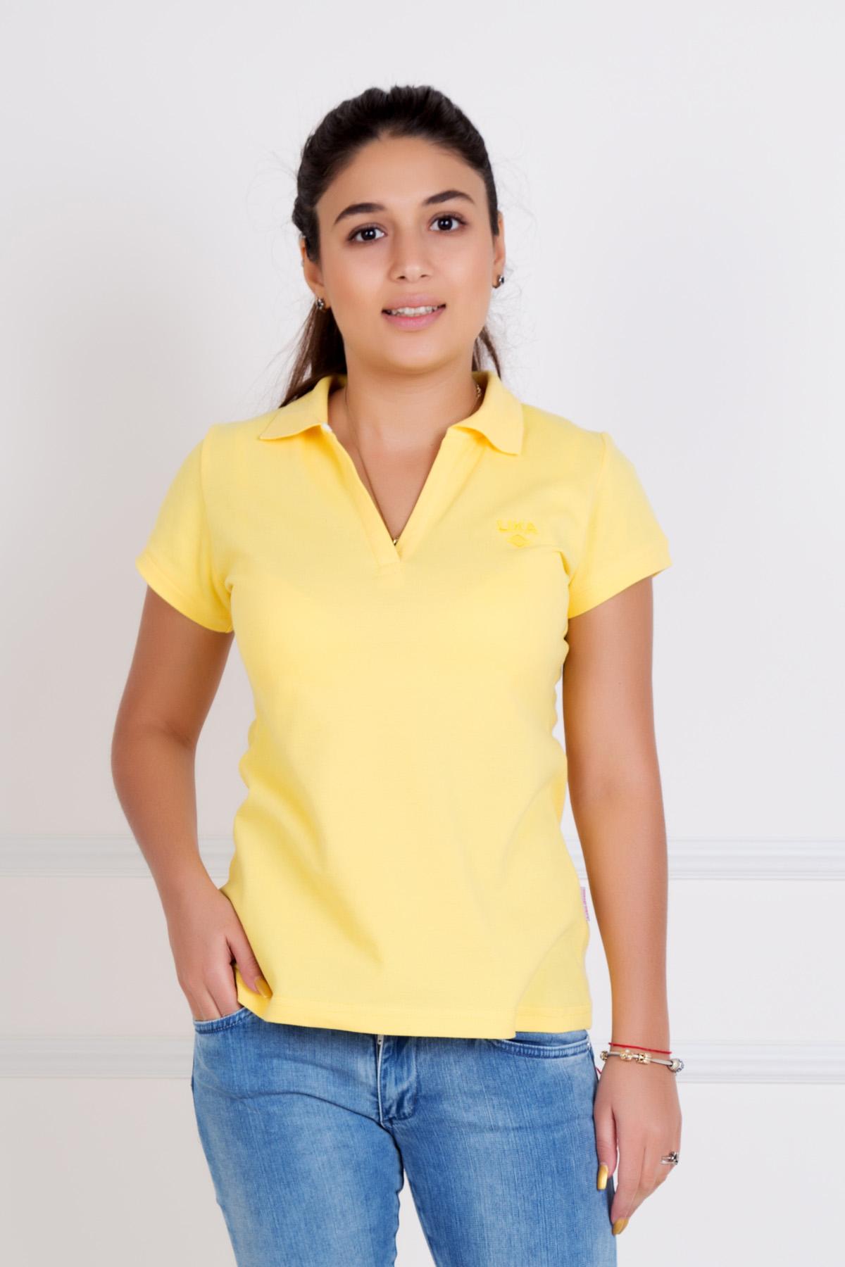Жен. футболка Шерт Желтый р. 46Майки и футболки<br>Обхват груди:92 см<br>Обхват талии:74 см<br>Обхват бедер:100 см<br>Длина по спинке:61 см<br>Рост:167 см<br><br>Тип: Жен. футболка<br>Размер: 46<br>Материал: Пике
