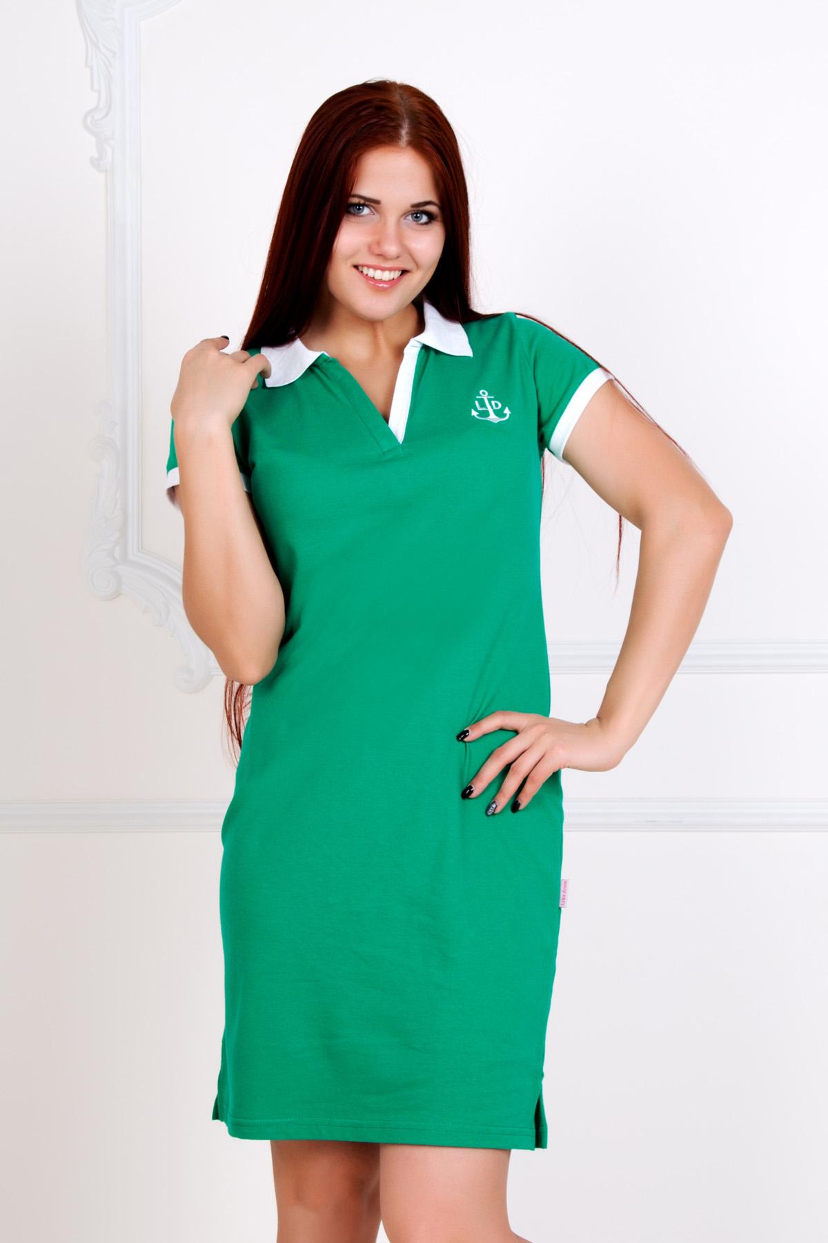 Жен. платье Поло Зеленый р. 40Платья, туники<br>Обхват груди:80 см<br>Обхват талии:62 см<br>Обхват бедер:88 см<br>Длина по спинке:89 см<br>Рост:167 см<br><br>Тип: Жен. платье<br>Размер: 40<br>Материал: Пике