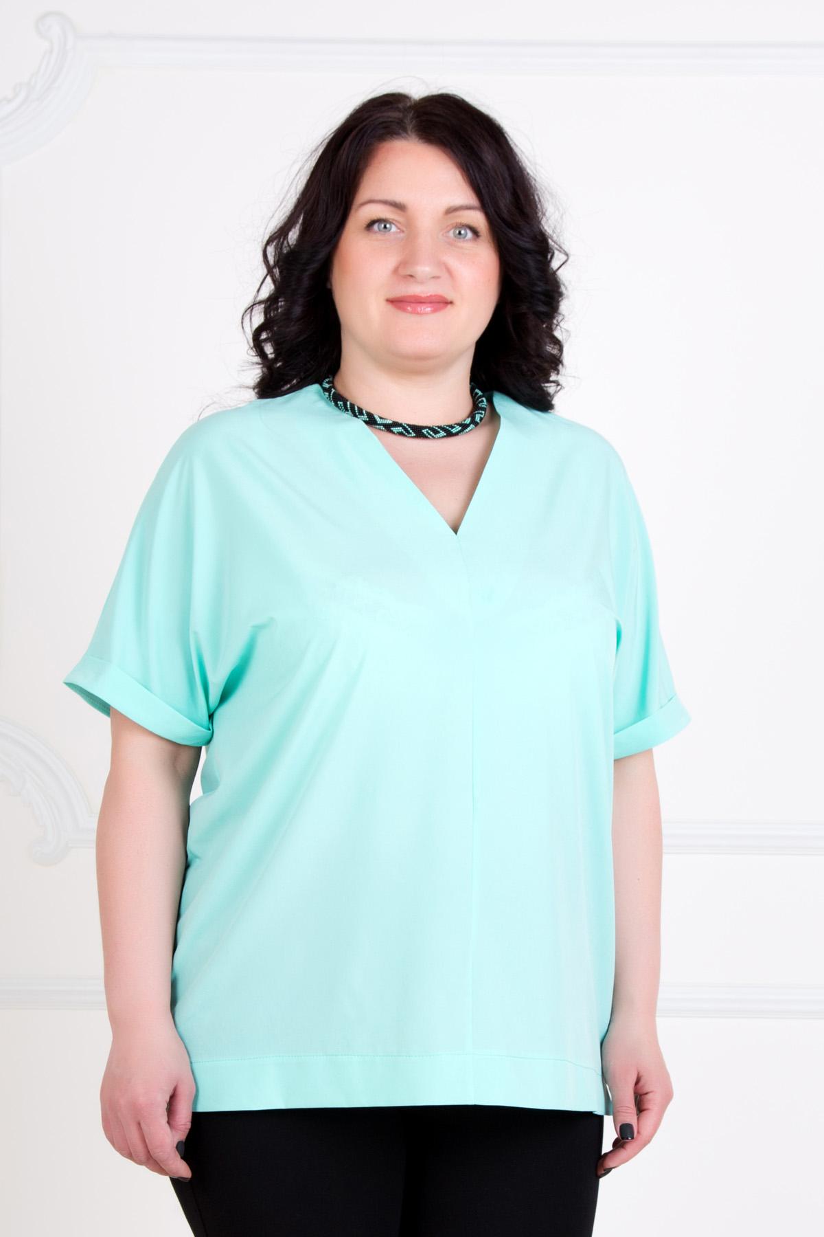 Жен. блуза Анна Ментол р. 58Блузы<br>Обхват груди: 116 см <br>Обхват талии: 97 см <br>Обхват бедер: 124 см <br>Длина по спинке: 69 см <br>Рост: 167 см<br><br>Тип: Жен. блуза<br>Размер: 58<br>Материал: Креп