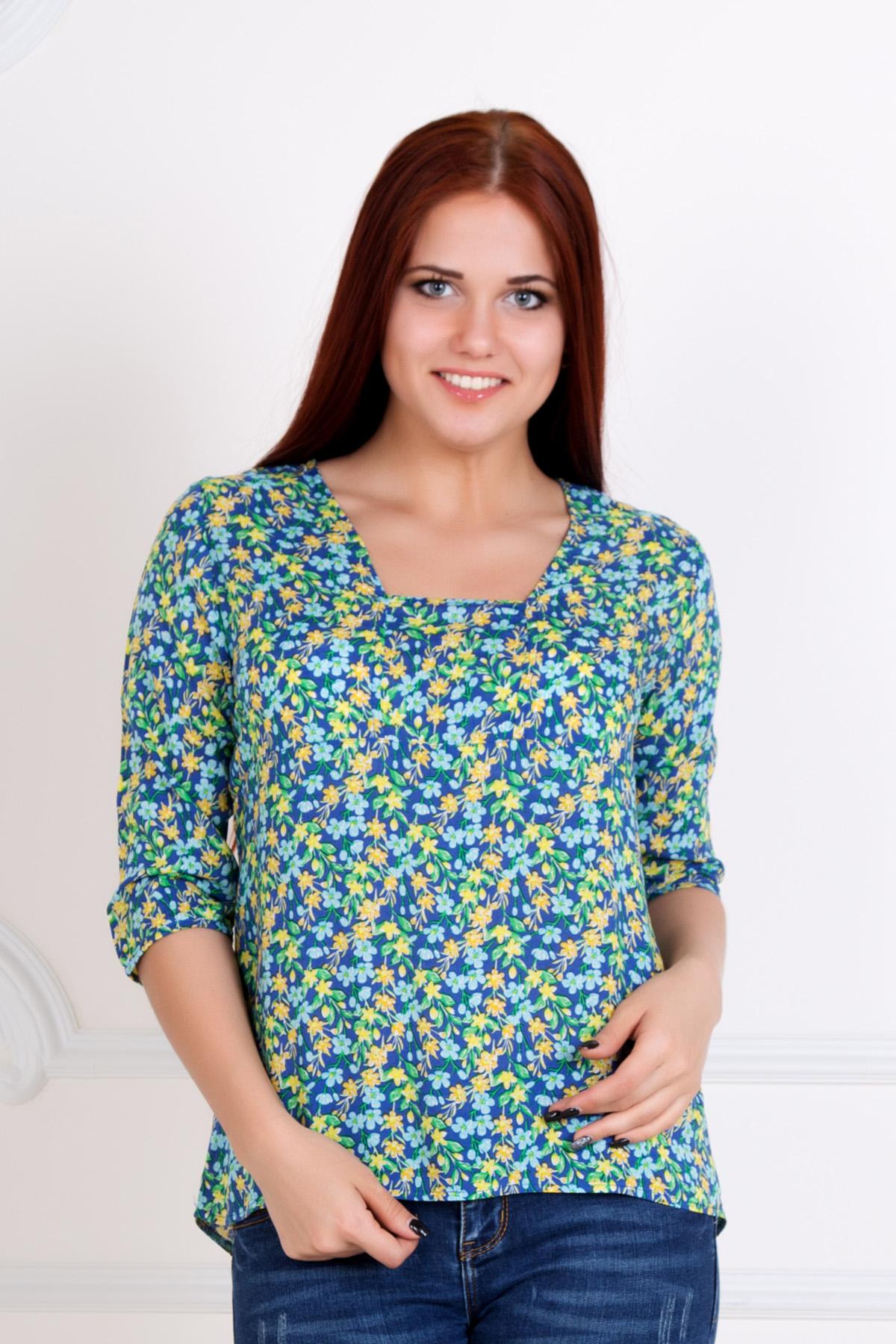 Жен. блуза Мария Синий р. 44Распродажа<br>Обхват груди:88 см<br>Обхват талии:68 см<br>Обхват бедер:96 см<br>Длина по спинке:60 см<br>Рост:167 см<br><br>Тип: Жен. блуза<br>Размер: 44<br>Материал: Штапель