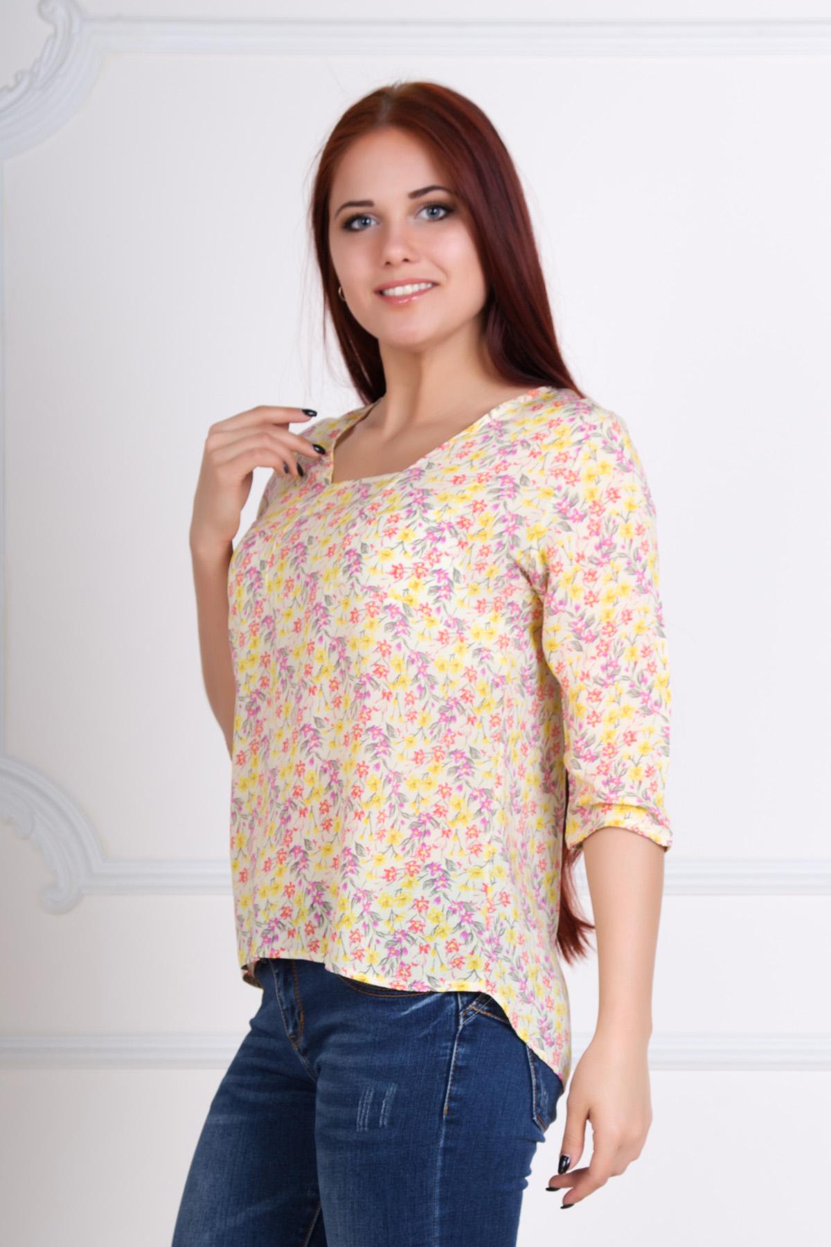 Жен. блуза Мария Желтый р. 54Распродажа<br>Обхват груди:108 см<br>Обхват талии:88 см<br>Обхват бедер:116 см<br>Длина по спинке:64 см<br>Рост:167 см<br><br>Тип: Жен. блуза<br>Размер: 54<br>Материал: Штапель