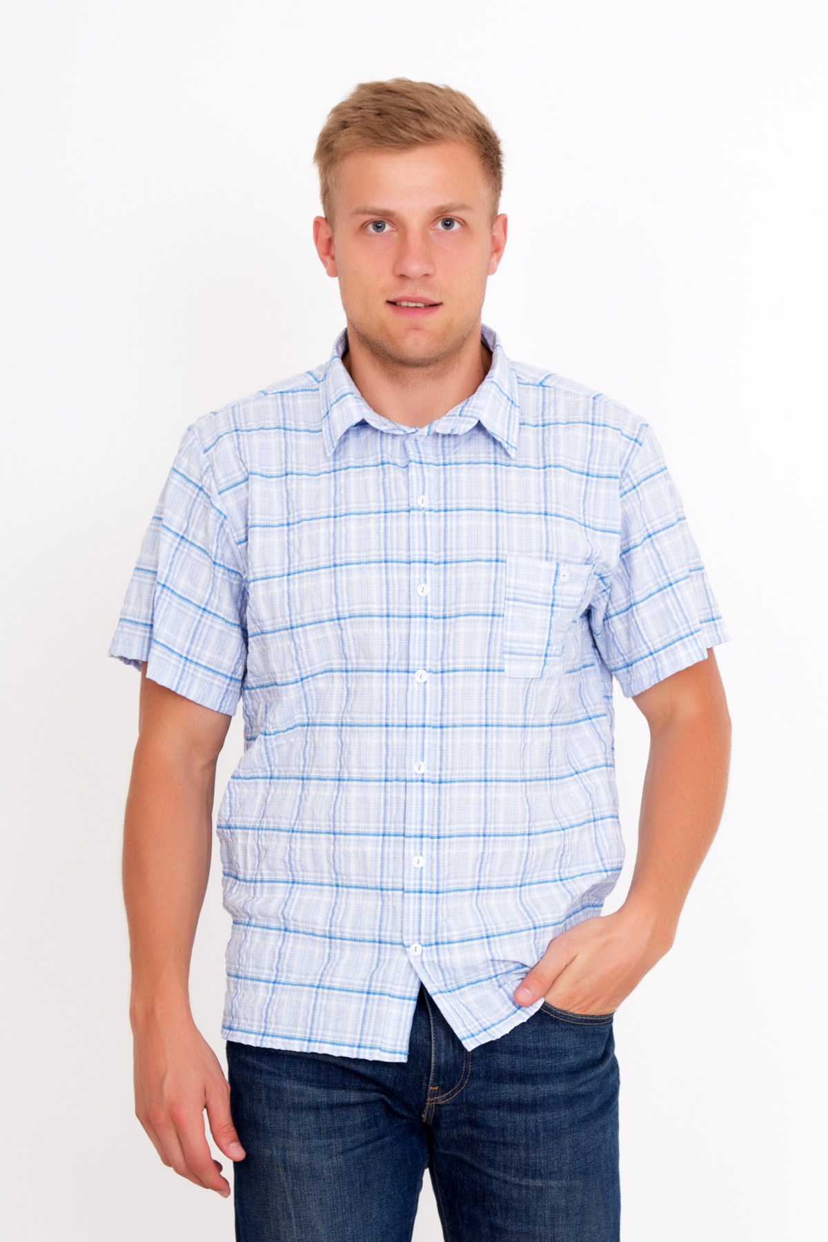 Муж. рубашка  Жатка  Голубой р. 48 - Мужская одежда артикул: 18997