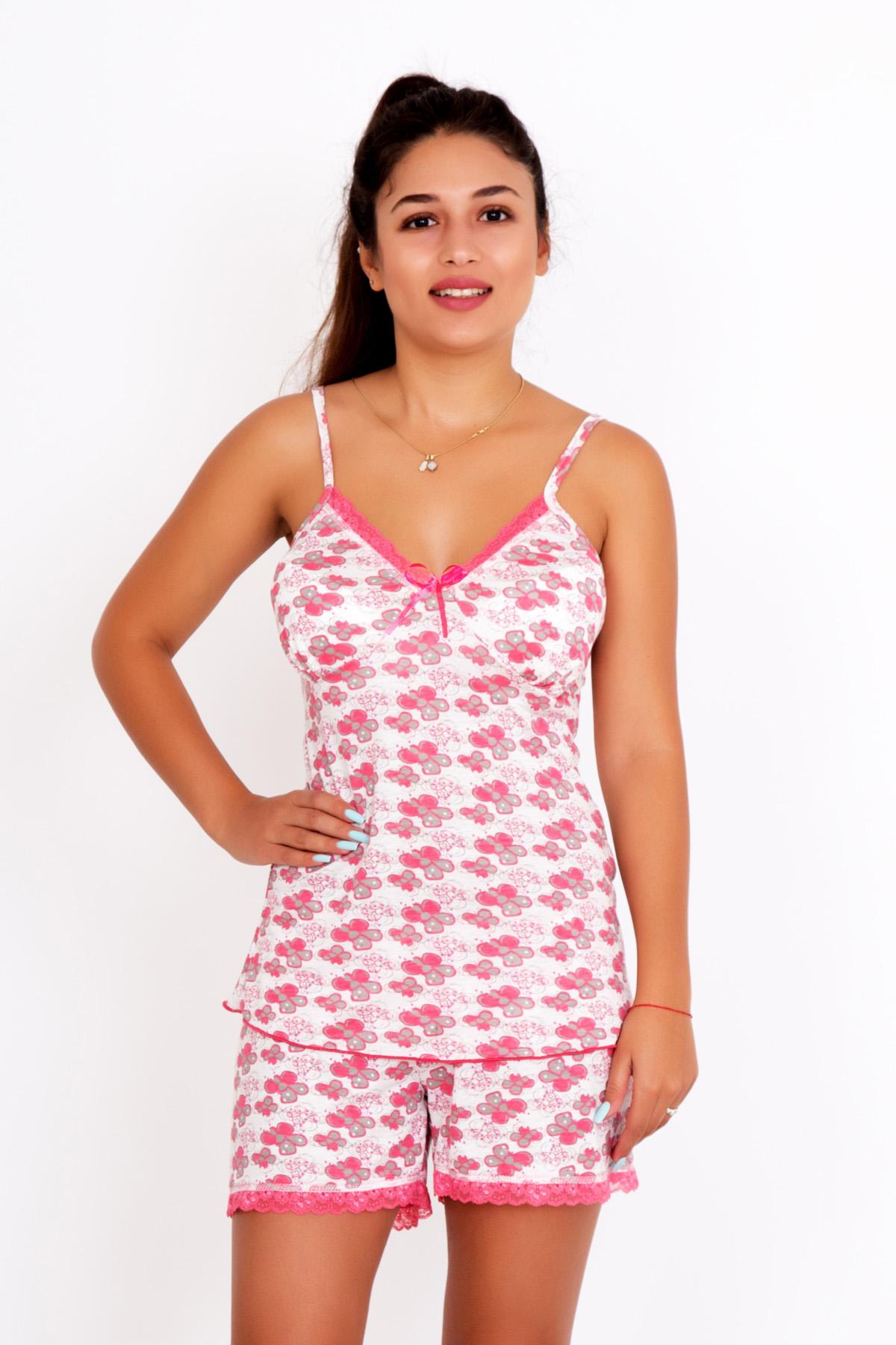 Женский пижама Капучино, размер 46Пижамы<br>Обхват груди:92 см<br>Обхват талии:74 см<br>Обхват бедер:100 см<br>Рост:167 см<br><br>Тип: Жен. костюм<br>Размер: 46<br>Материал: Вискоза