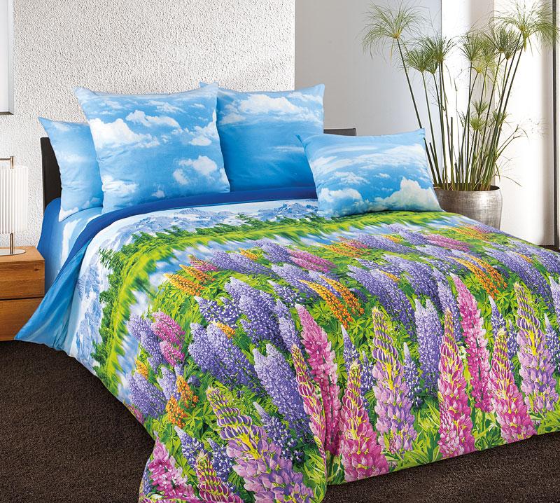 """Комплект """"Люпины"""" Голубой, размер 2,0-спальный с европростыней Текс-Дизайн"""