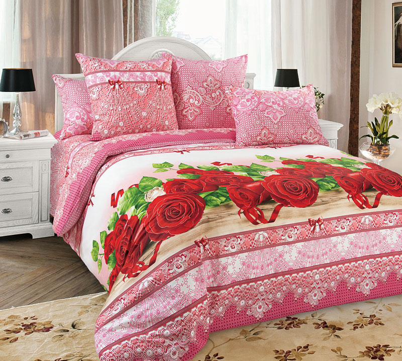 Комплект Розы Красный, размер 1,5-спальныйПеркаль<br>Плотность ткани:110 г/кв. м<br>Пододеяльник:215х143 см - 1 шт.<br>Простыня:214х145 см - 1 шт.<br>Наволочка:70х70 см - 2 шт.<br><br>Тип: КПБ<br>Размер: 1,5-сп.<br>Материал: Перкаль