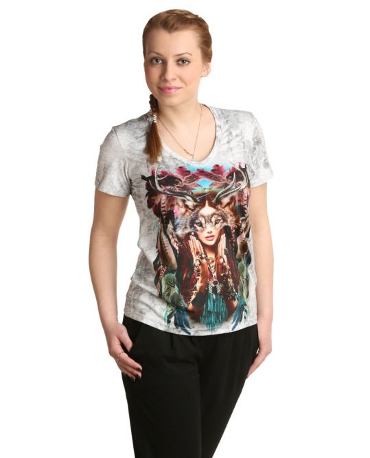 Женская футболка Индиана Серый, размер 44Блузки, майки, кофты<br>Обхват груди:88 см<br>Обхват талии:69 см<br>Обхват бедер:96 см<br>Длина по спинке:61.5 см<br>Рост:164-170 см<br><br>Тип: Жен. футболка<br>Размер: 44<br>Материал: Полиэстер