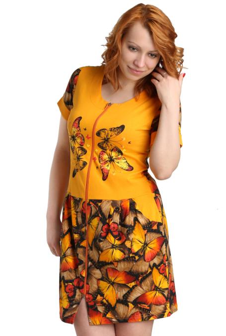 Женский халат Кари Оранжевый, размер 46Халаты<br>Обхват груди:92 см<br>Обхват талии:73 см<br>Обхват бедер:100 см<br>Длина по спинке:91 см<br>Рост:164-170 см<br><br>Тип: Жен. халат<br>Размер: 46<br>Материал: Кулирка