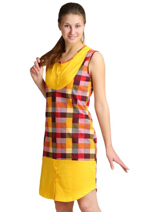 Женское платье Арина Оранжевый, размер 46Платья<br>Обхват груди:92 см<br>Обхват талии:73 см<br>Обхват бедер:100 см<br>Длина по спинке:95 см<br>Рост:164-170 см<br><br>Тип: Жен. платье<br>Размер: 46<br>Материал: Кулирка