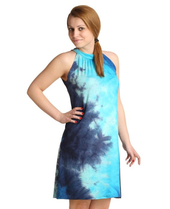 Женское платье Стелара Голубой, размер 44Платья<br>Обхват груди: 88 см <br>Обхват талии: 69 см <br>Обхват бедер: 96 см <br>Длина по спинке: 89 см <br>Рост: 164-170 см<br><br>Тип: Жен. платье<br>Размер: 44<br>Материал: Вискоза