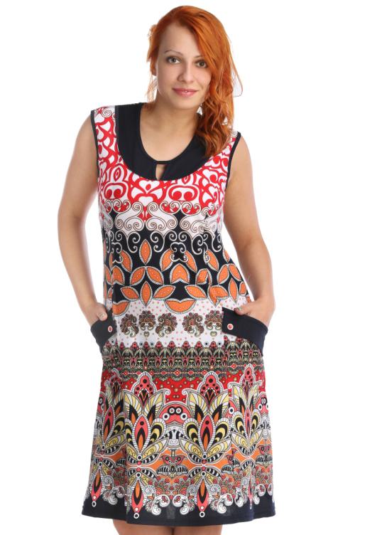 Жен. платье арт. 16-0022 Красный р. 52Платья, туники<br>Обхват груди:104 см<br>Обхват талии:86 см<br>Обхват бедер:112 см<br>Длина по спинке:107 см<br>Рост:164-170 см<br><br>Тип: Жен. платье<br>Размер: 52<br>Материал: Кулирка