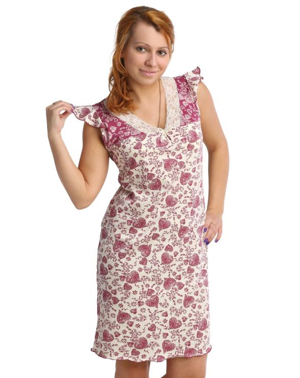 Жен. сорочка арт. 16-0076 Бордовый р. 52Ночные сорочки<br>Обхват груди: 104 см <br>Обхват талии: 86 см <br>Обхват бедер: 112 см <br>Длина по спинке: 94 см <br>Рост: 164-170 см<br><br>Тип: Жен. сорочка<br>Размер: 52<br>Материал: Кулирка