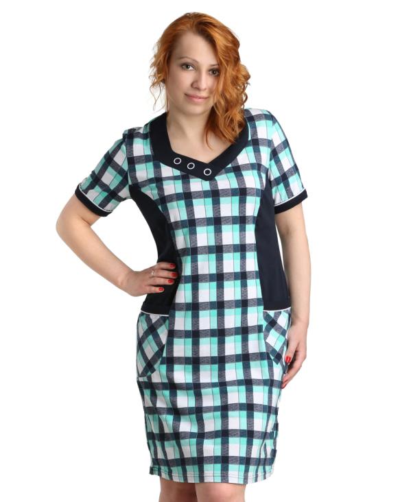 Жен. туника-платье арт. 16-0013 Зеленый р. 62 ЕленаТекс