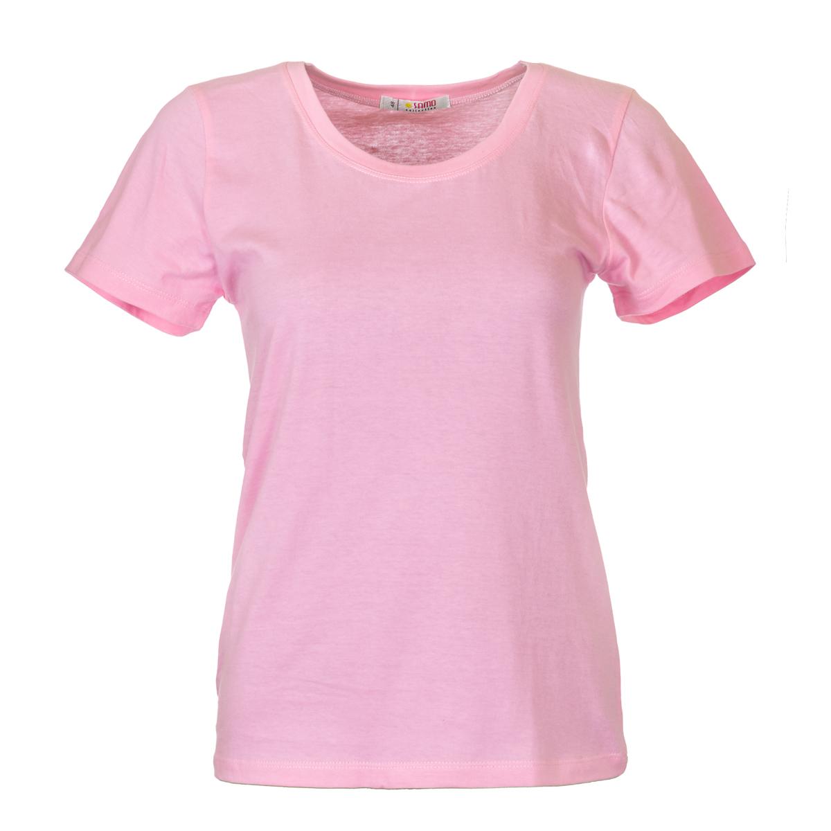Жен. футболка арт. 04-0045 Розовый р. 50Майки и футболки<br>Фактический ОГ:84 см<br>Фактический ОТ:82 см<br>Фактический ОБ:94 см<br>Длина по спинке:59 см<br>Рост:164-170 см<br><br>Тип: Жен. футболка<br>Размер: 50<br>Материал: Супрем