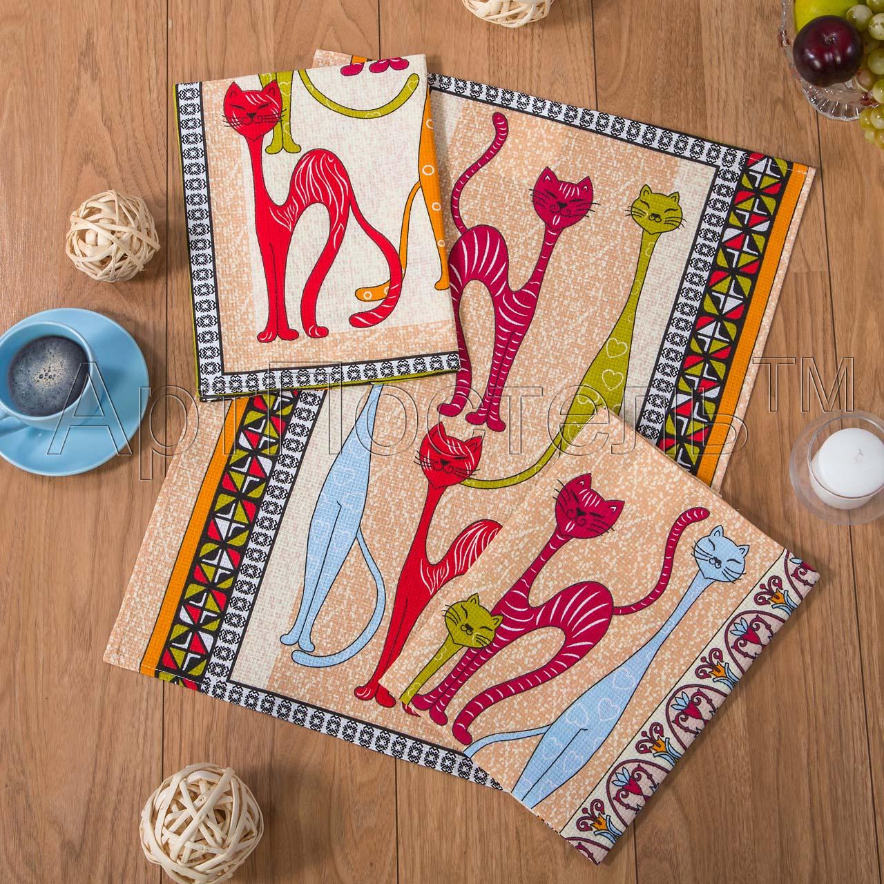 Набор полотенец Кошки р. 45х60Вафельные полотенца<br>Плотность:160 г/кв. м<br><br>Тип: Набор полотенец<br>Размер: 45х60<br>Материал: Вафельное полотно
