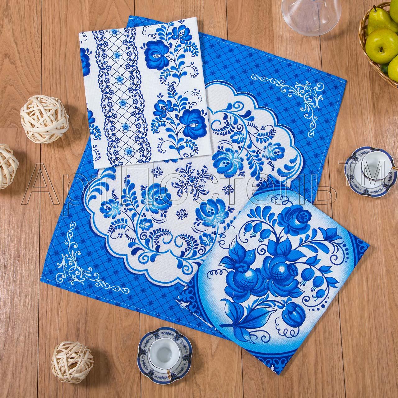 Набор полотенец Гжель р. 45х60Вафельные полотенца<br>Плотность: 160 г/кв. м <br>Количество в наборе: 3 шт.<br><br>Тип: Набор полотенец<br>Размер: 45х60<br>Материал: Вафельное полотно