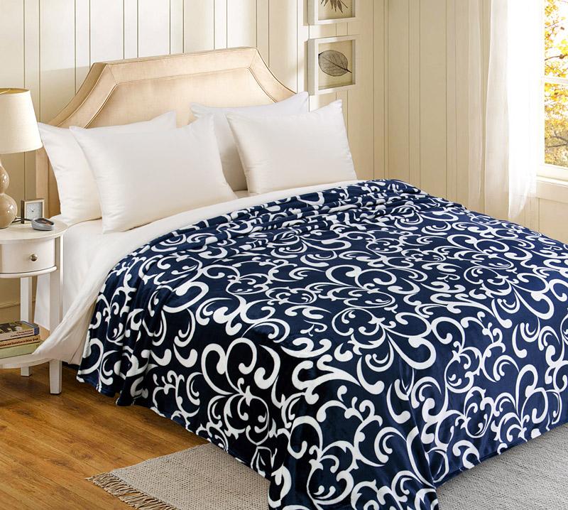 Плед  Вензель  Синий р. 200х220 - Текстиль для дома артикул: 30785