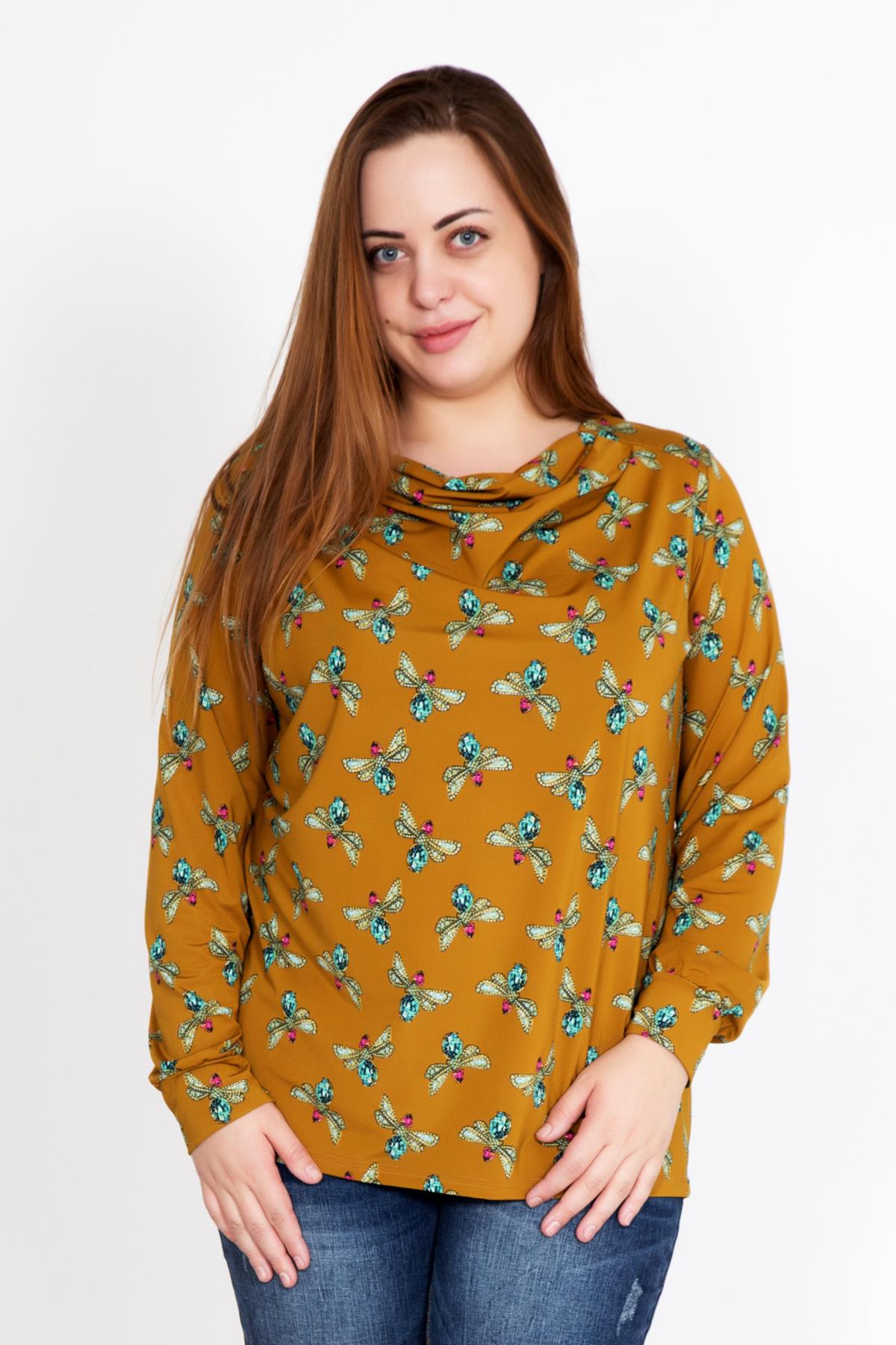 Жен. блуза Дайна р. 52Распродажа женской одежды<br>Обхват груди: 104 см <br>Обхват талии: 85 см <br>Обхват бедер: 112 см <br>Длина по спинке: 68 см <br>Рост: 167 см<br><br>Тип: Жен. блуза<br>Размер: 52<br>Материал: Масло