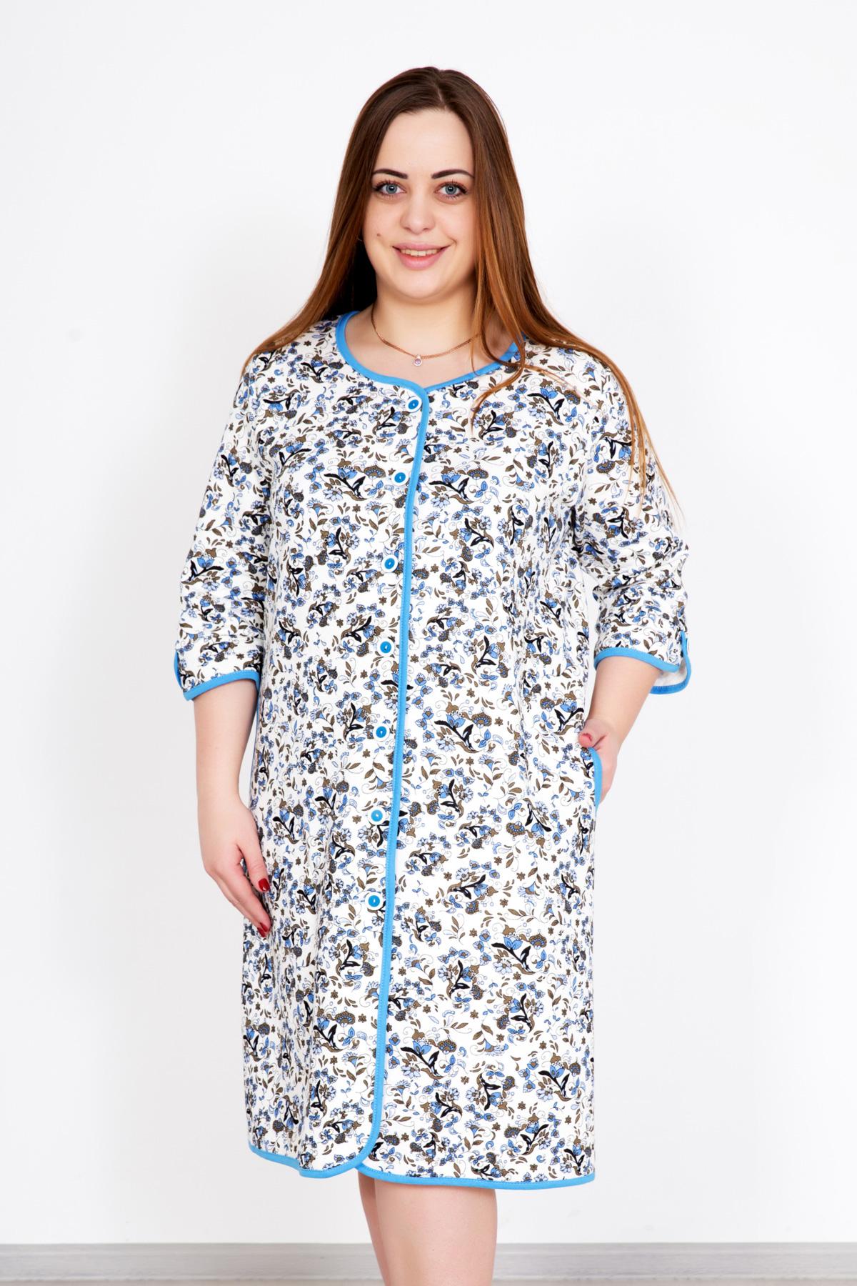 Жен. халат Виолетта Голубой р. 48Распродажа женской одежды<br>Обхват груди: 96 см <br>Обхват талии: 78 см <br>Обхват бедер: 104 см <br>Длина по спинке: 98 см <br>Рост: 167 см<br><br>Тип: Жен. халат<br>Размер: 48<br>Материал: Капитоний