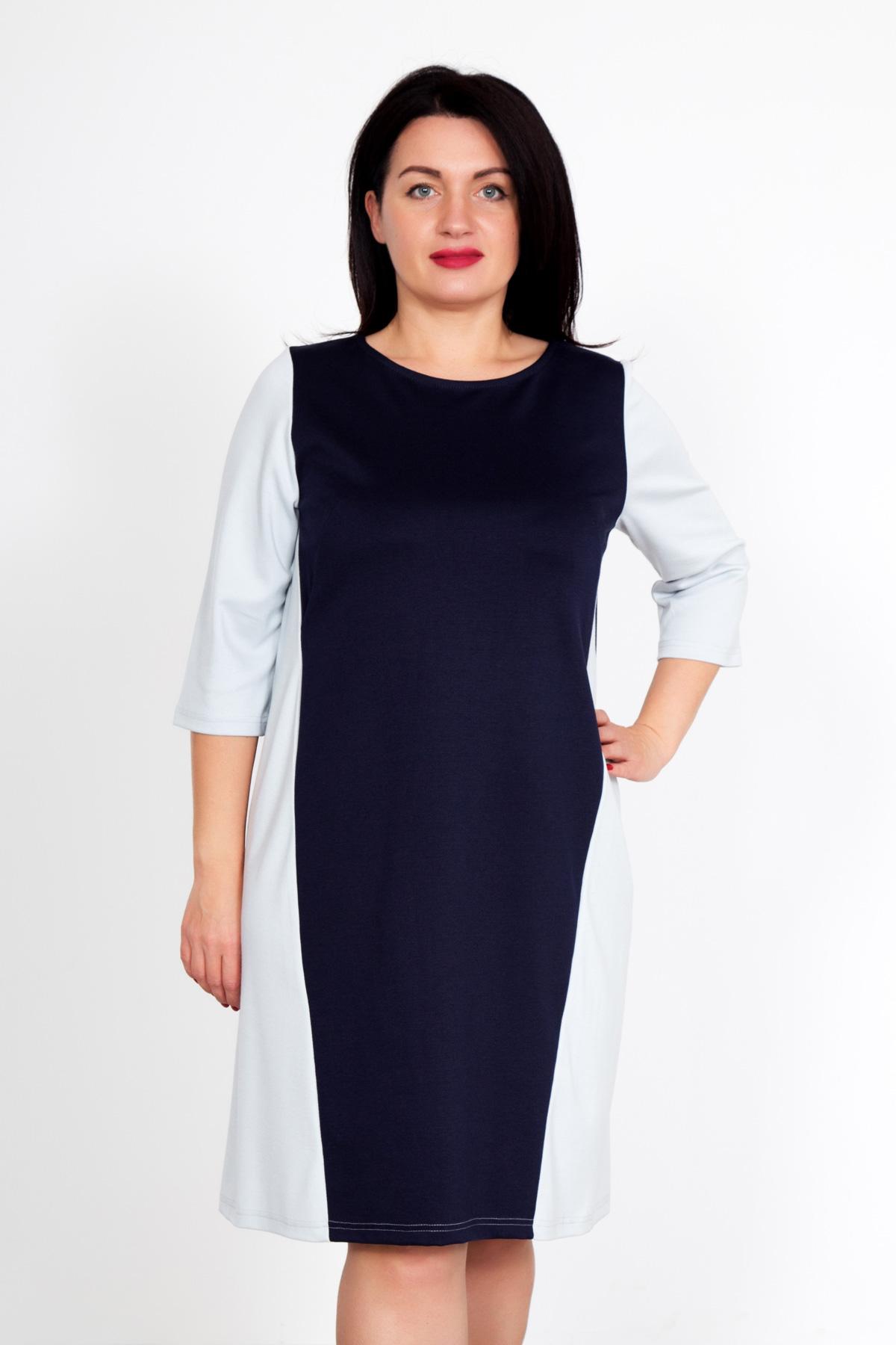 Жен. платье Бренда Синий р. 58Распродажа женской одежды<br>Обхват груди: 116 см <br>Обхват талии: 97 см <br>Обхват бедер: 124 см <br>Длина по спинке: 95 см <br>Рост: 167 см<br><br>Тип: Жен. платье<br>Размер: 58<br>Материал: Милано