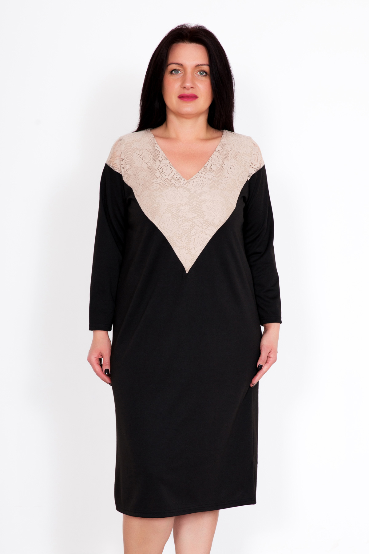 Жен. платье Мона р. 58Распродажа женской одежды<br>Обхват груди: 116 см <br>Обхват талии: 97 см <br>Обхват бедер: 124 см <br>Длина по спинке: 105 см <br>Рост: 167 см<br><br>Тип: Жен. платье<br>Размер: 58<br>Материал: Милано