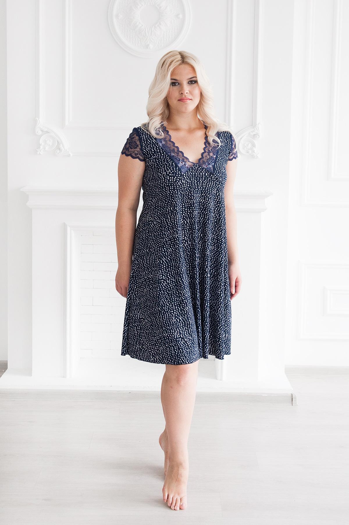 Жен. сорочка арт. 19-0026 Темно-синий р. 56Ночные сорочки<br><br><br>Тип: Жен. сорочка<br>Размер: 56<br>Материал: Масло