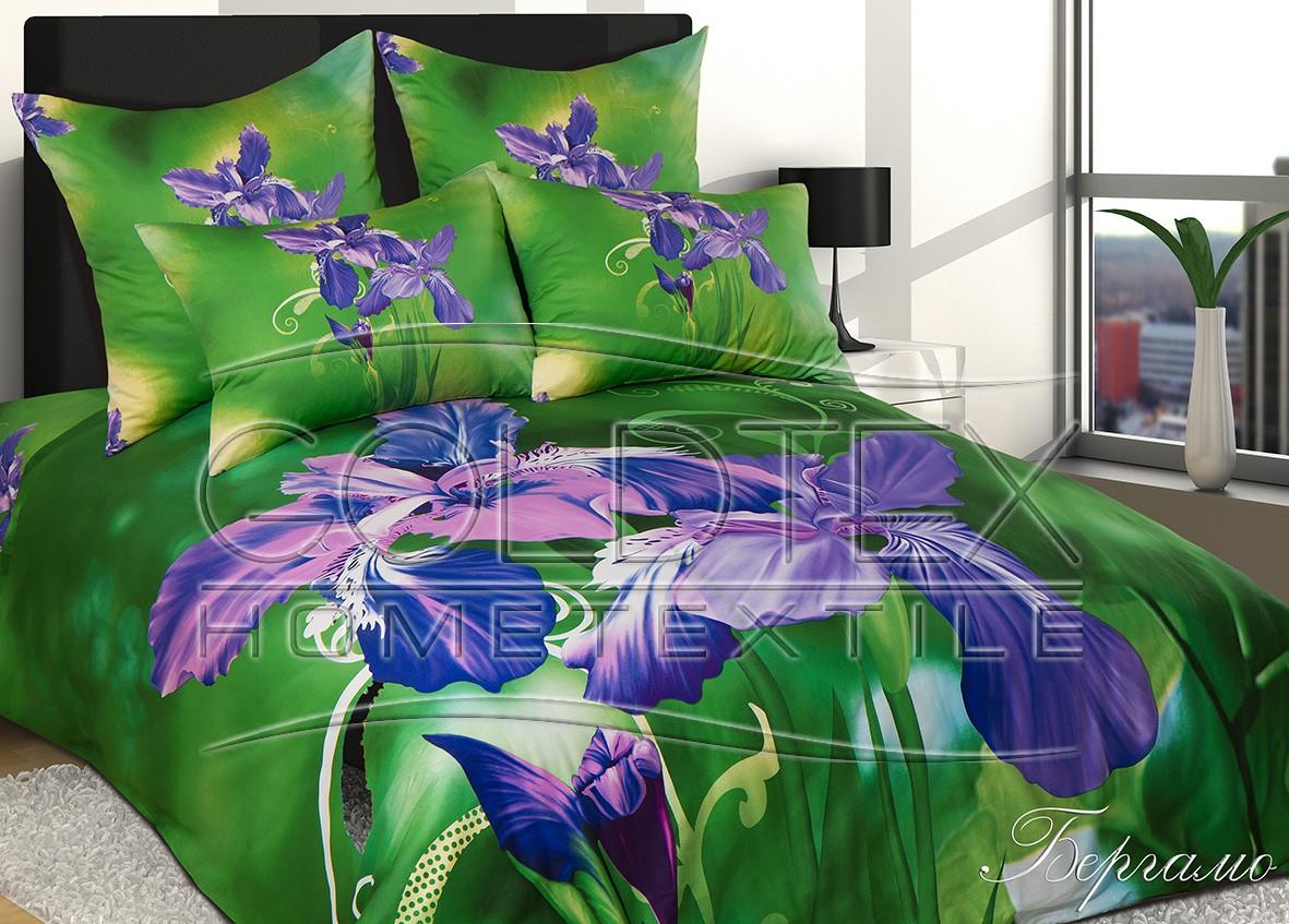 Постельный комплект белья из сатина «Бергамо», размер Евро с 4 наволочкамиСатин<br>Плотность ткани:140 г/кв. м<br>Пододеяльник:220х200 см - 1 шт.<br>Простыня:220х240 см - 1 шт.<br>Наволочка:70х70 см - 2 шт. 50х70 см - 2 шт.<br><br>Тип: КПБ<br>Размер: Евро 4 нав.<br>Материал: Сатин 3D