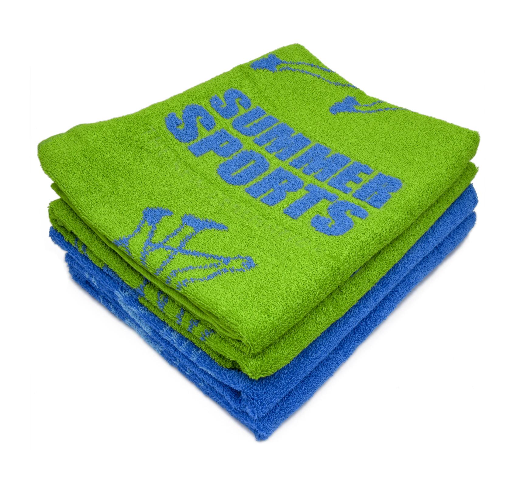 Полотенце Летние виды спорта, цвет Зеленый, размер 50х90 смМахровые полотенца<br>Плотность ткани:410 г/кв. м.<br><br>Тип: Полотенце<br>Размер: 50х90<br>Материал: Махра