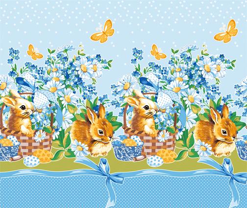 Вафельное полотенце Пасхальный кролик, цвет ГолубойВафельные полотенца<br><br><br>Тип: Вафельное полотенце<br>Размер: 50х70<br>Материал: Вафельное полотно