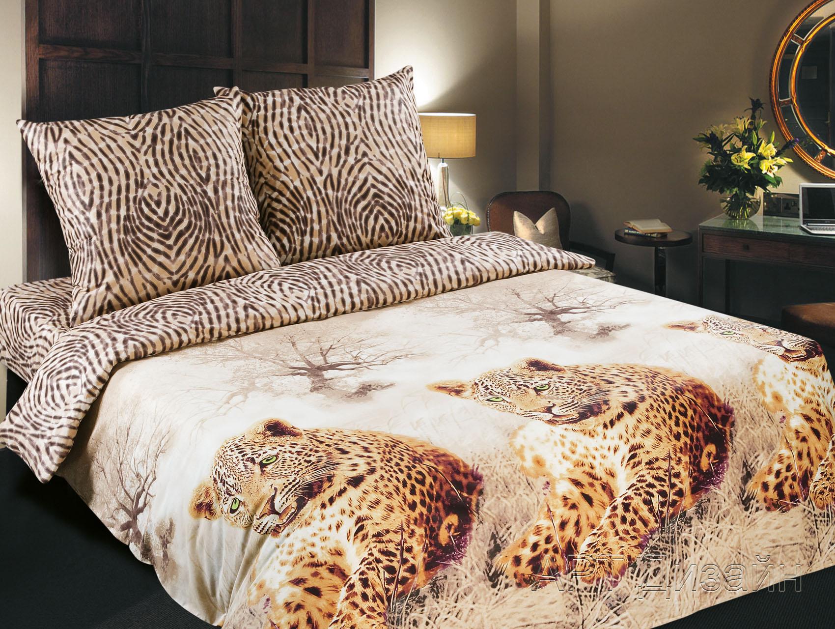 Комплект  Леопарды , размер 1,5-спальный - Постельное белье артикул: 9742