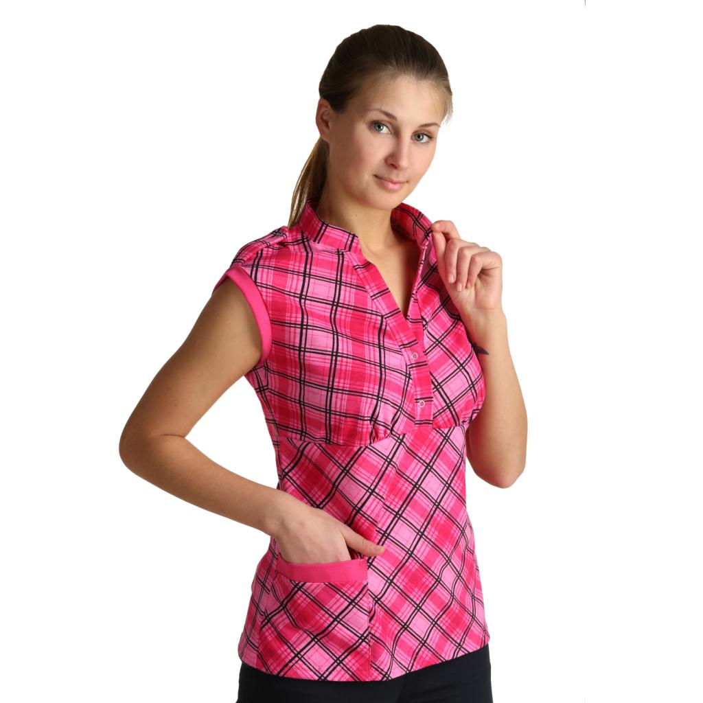 Женская блузка Марго Розовый, размер 44Блузы<br>Обхват груди: 88 см <br>Обхват талии: 69 см <br>Обхват бедер: 96 см <br>Длина по спинке: 67 см <br>Рост: 164-170 см<br><br>Тип: Жен. блузка<br>Размер: 44<br>Материал: Кулирка