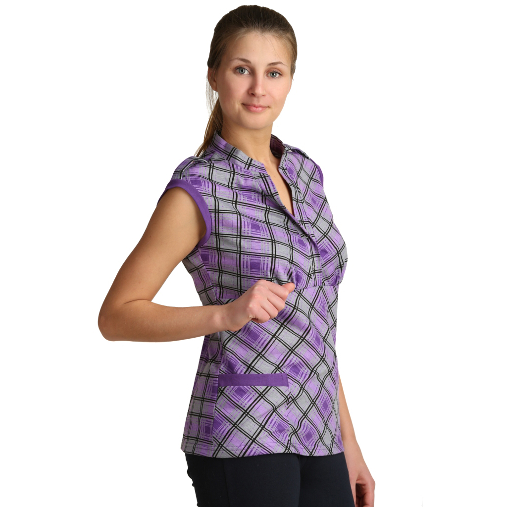 Женская блузка Марго Сиреневый, размер 48Блузы<br>Обхват груди: 96 см <br>Обхват талии: 77 см <br>Обхват бедер: 104 см <br>Длина по спинке: 68 см <br>Рост: 164-170 см<br><br>Тип: Жен. блузка<br>Размер: 48<br>Материал: Кулирка