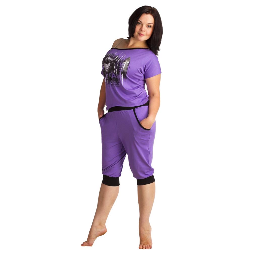 """Женский костюм """"Агнес"""" Фиолетовый, размер 44 ЕленаТекс"""