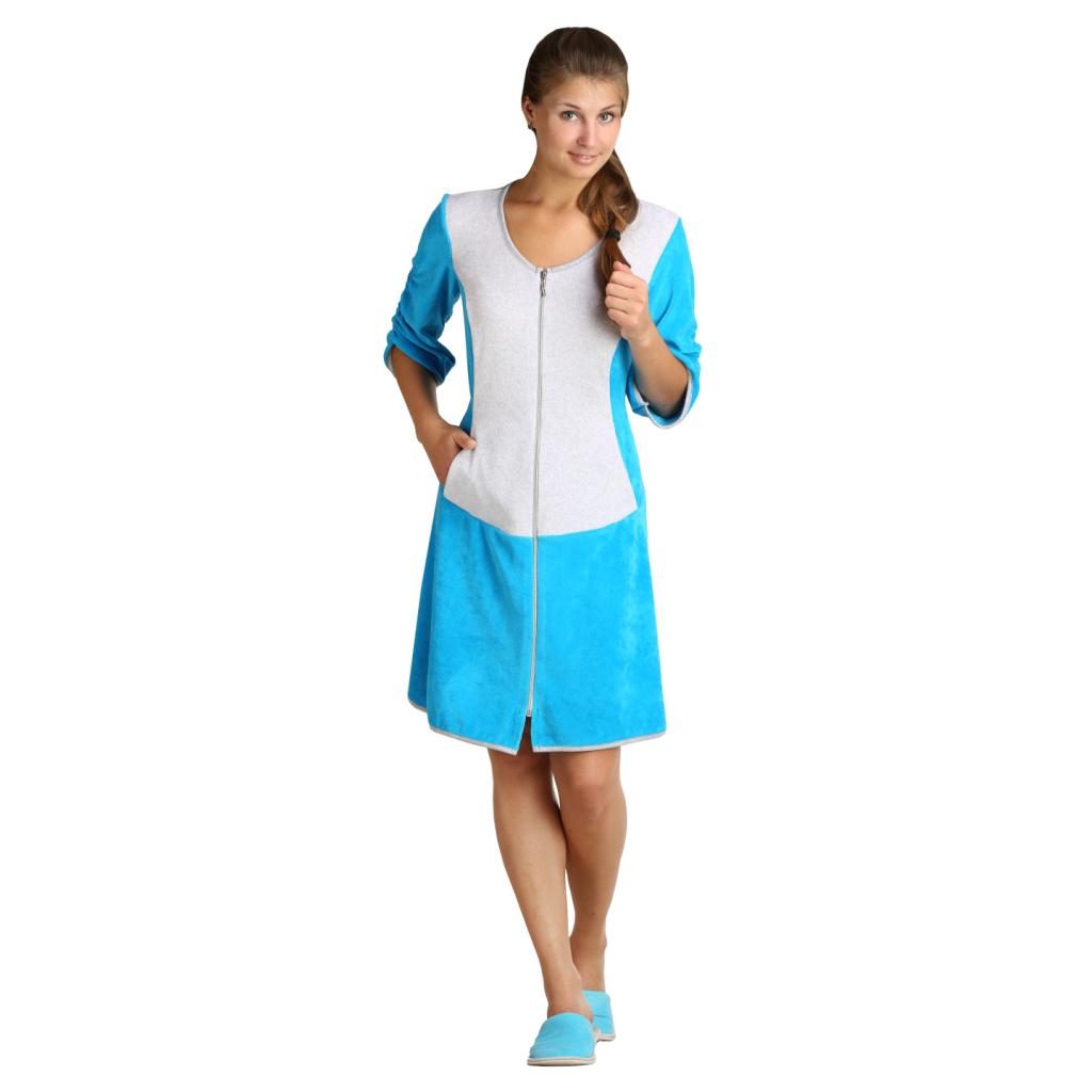 Женский халат «Вика» бирюзовый, размер 42 ЕленаТекс