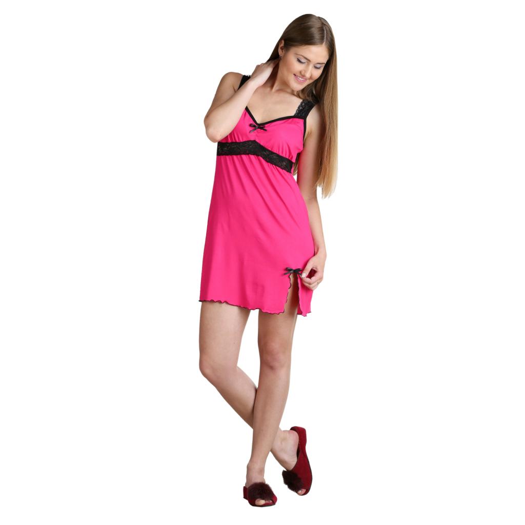 Женская сорочка Эмилия Малиновый, размер 44Пижамы и ночные сорочки<br>Обхват груди:88 см<br>Обхват талии:69 см<br>Обхват бедер:96 см<br>Длина по спинке:63 см<br>Рост:164-170 см<br><br>Тип: Жен. сорочка<br>Размер: 44<br>Материал: Вискоза.