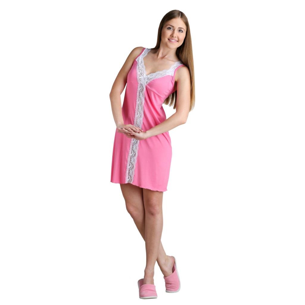 """Женская сорочка """"Алиса"""" Розовый, размер 42 ЕленаТекс"""