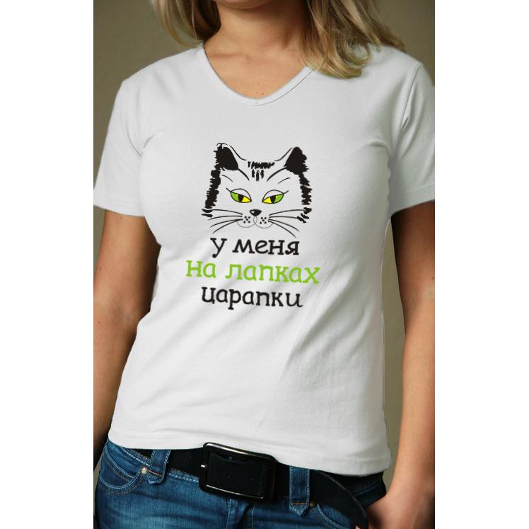 Женская футболка Лапки царапки, размер LМайки и футболки<br>Обхват груди:96 см<br>Обхват талии:77 см<br>Обхват бедер:104 см<br>Рост:164-170 см<br><br>Тип: Жен. футболка<br>Размер: L<br>Материал: Кулирка