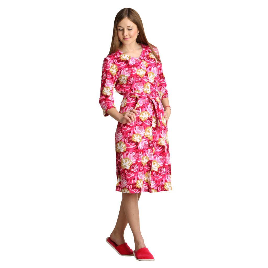 Женский халат Аннушка Розовый, размер 54Халаты<br>Обхват груди:108 см<br>Обхват талии:90 см<br>Обхват бедер:116 см<br>Длина по спинке:116 см<br>Рост:164-170 см<br><br>Тип: Жен. халат<br>Размер: 54<br>Материал: Махра