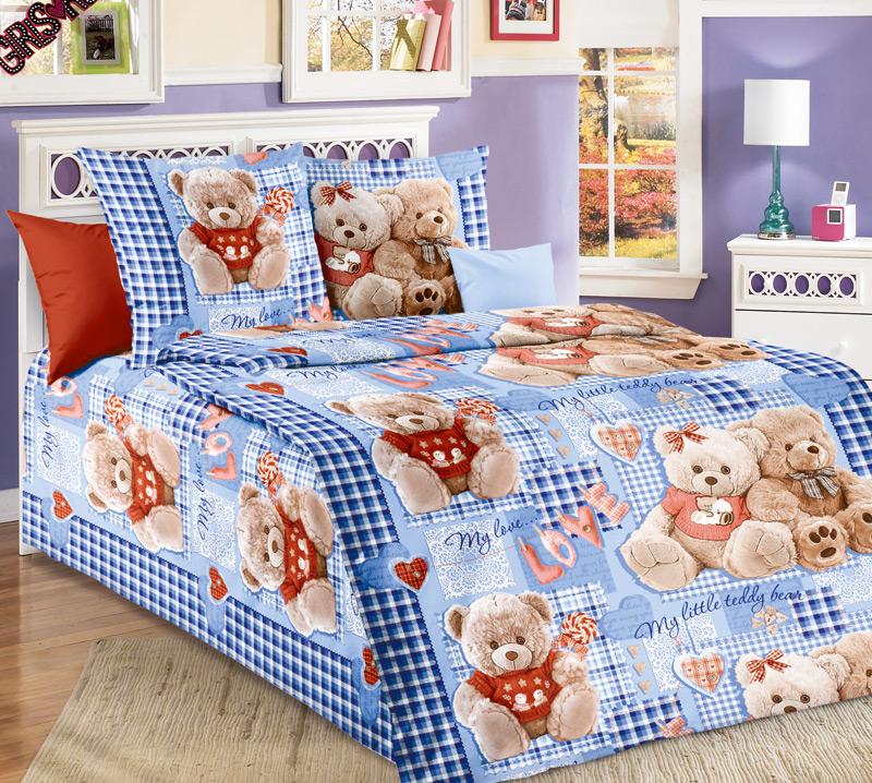 Детский комплект  Плюшевые мишки  Синий, размер 1,5 сп. - Постельное белье артикул: 7791