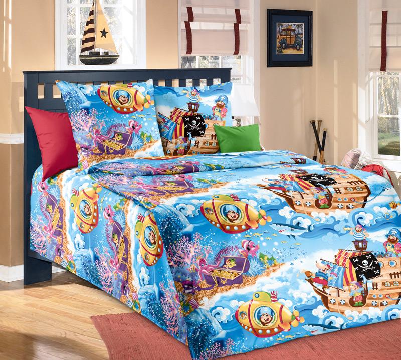 Детский постельный комплект «Пираты», размер 1,5 сп. - Постельное белье артикул: 7804