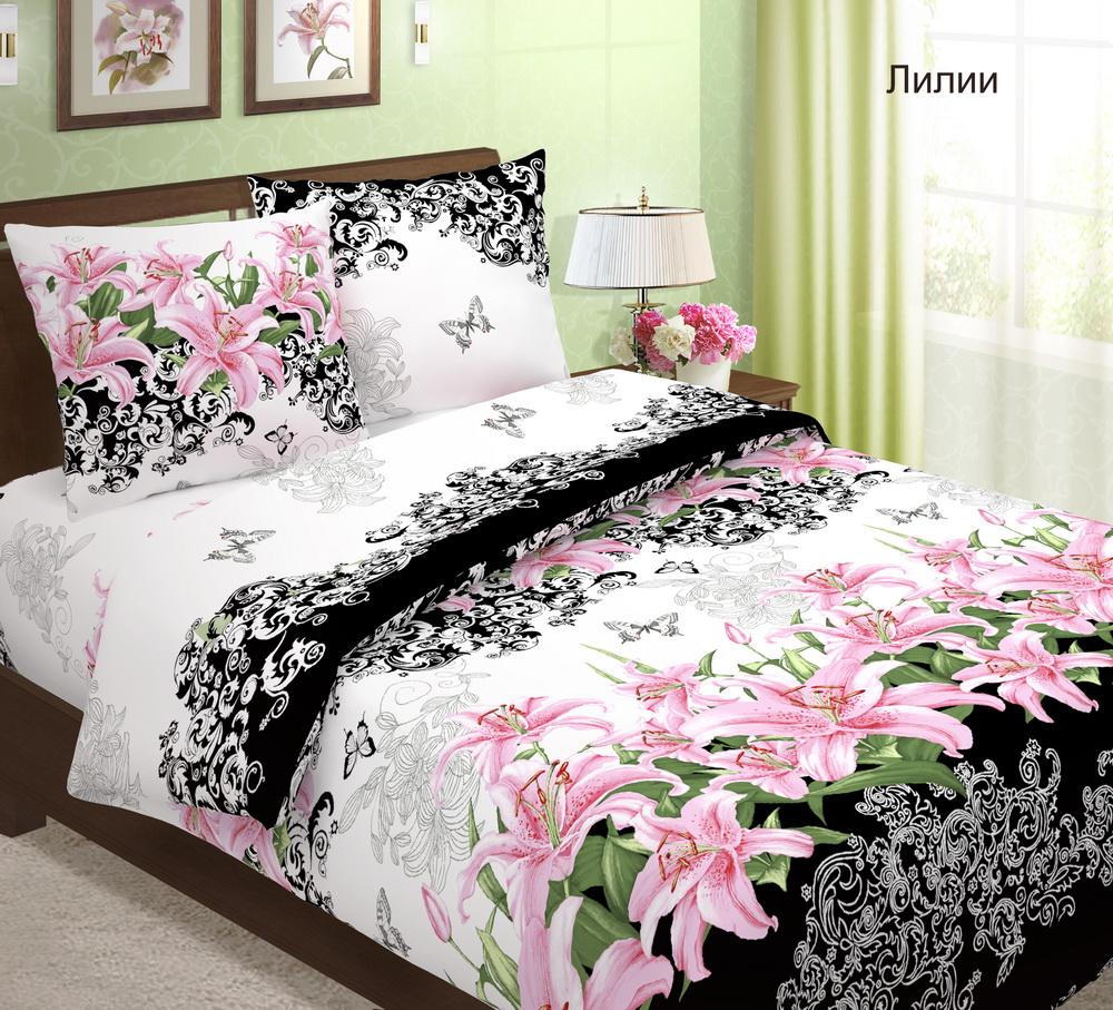 Белье из бязи | 1,5 спальный комплект «Лилии», размер 1,5 сп. - Постельное белье артикул: 7984