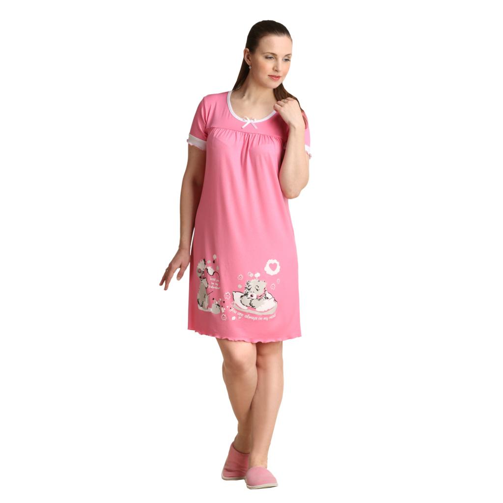 Женская сорочка Сладких снов Розовый, размер 52Ночные сорочки<br>Обхват груди: 104 см <br>Обхват талии: 86 см <br>Обхват бедер: 112 см <br>Длина по спинке: 91 см <br>Рост: 164-170 см<br><br>Тип: Жен. сорочка<br>Размер: 52<br>Материал: Вискоза