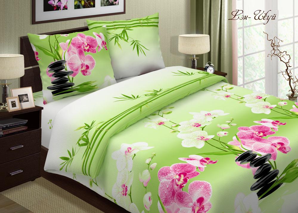 Комплект Фэн-шуй Зеленый, размер 2,0-спальный с европростынейПоплин<br>Плотность ткани:118 г/кв. м<br>Пододеяльник:215х175 см - 1 шт.<br>Простыня:220х240 см - 1 шт.<br>Наволочка:70х70 см - 2 шт.<br><br>Тип: КПБ<br>Размер: 2,0-сп. евро<br>Материал: Поплин