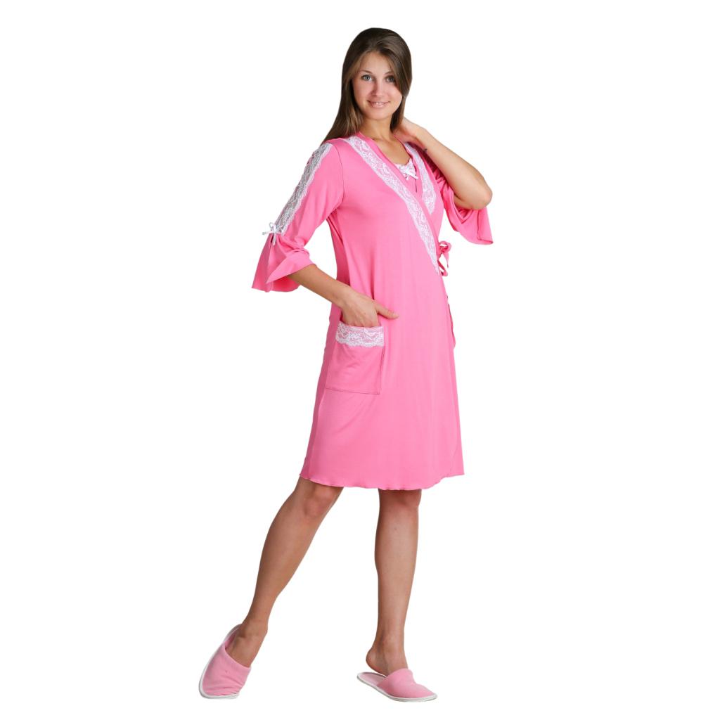 Женский халат Виолла Розовый, размер 48Халаты<br>Обхват груди:96 см<br>Обхват талии:77 см<br>Обхват бедер:104 см<br>Длина по спинке:96 см<br>Рост:164-170 см<br><br>Тип: Жен. халат<br>Размер: 48<br>Материал: Вискоза