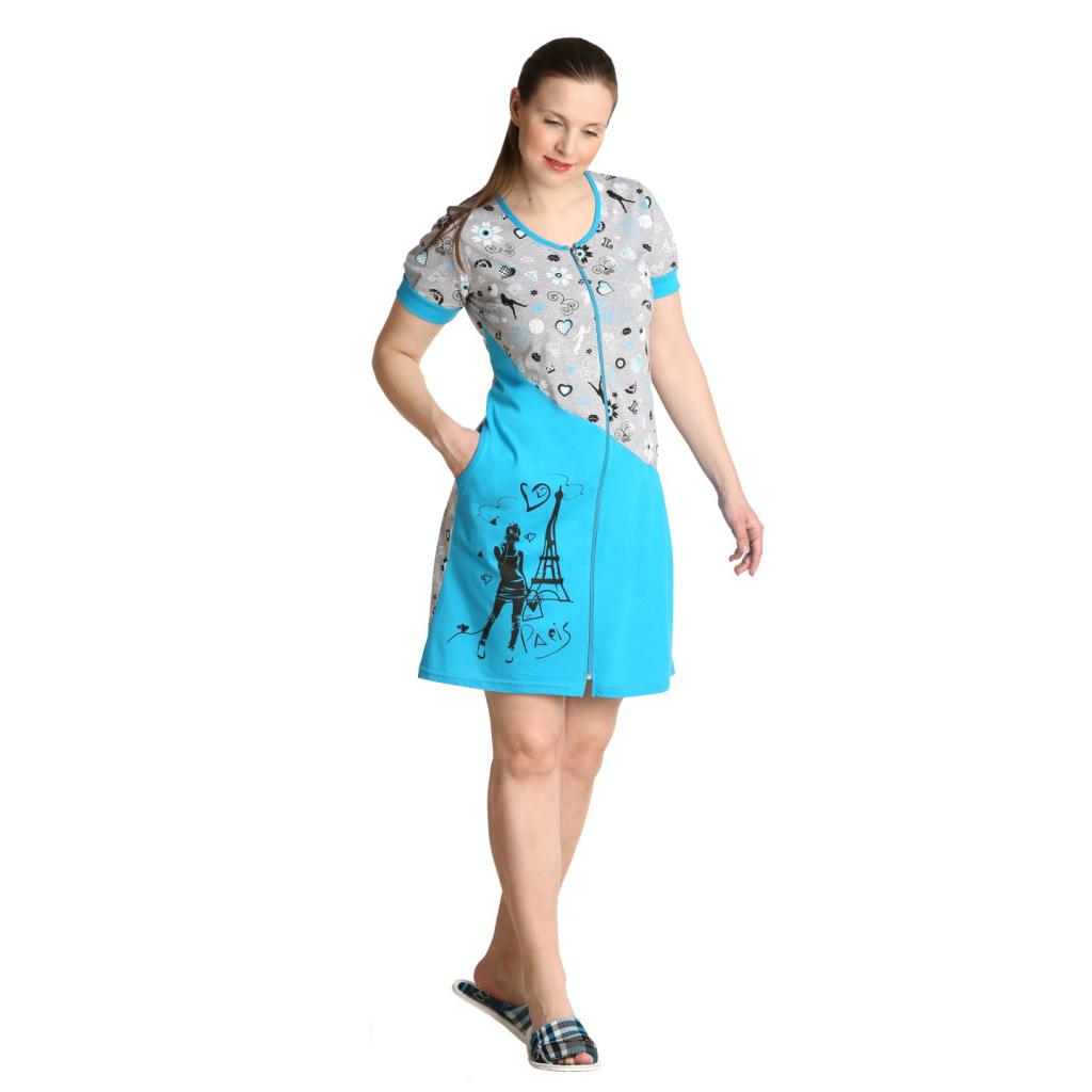 Женский халат Кокетка Бирюзовый, размер 42Халаты<br>Обхват груди:84 см<br>Обхват талии:65 см<br>Обхват бедер:92 см<br>Рост:164-170 см<br><br>Тип: Жен. халат<br>Размер: 42<br>Материал: Кулирка