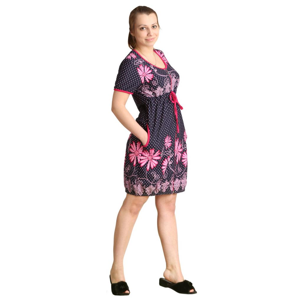 Женский халат Фаина Розовый, размер 52Халаты<br>Обхват груди:104 см<br>Обхват талии:86 см<br>Обхват бедер:112 см<br>Длина по спинке:99 см<br>Рост:164-170 см<br><br>Тип: Жен. халат<br>Размер: 52<br>Материал: Кулирка